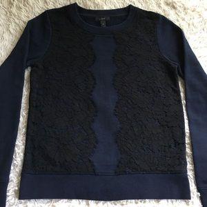 J CREW Navy Blue Crew Neck With Black Lace Detail